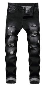 Sumen Men Zipper Biker Jeans Ripped Distressed Slit Denim Slim Stretch Moto Pants