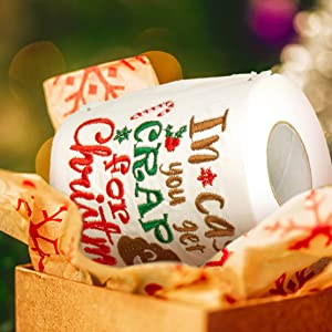 2 Pcs HO HO HO Hilarious Poop Toilet Paper Roll for Xmas Hoilday Decor Christmas Bathroom Decor Tifeson Christmas Decorations Funny Toilet Paper