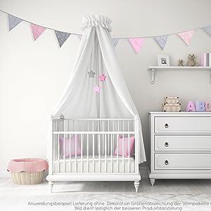 Wimpelkette Stoffgirlande deko dekoration kinderzimmer mädchen baby party geburtstag