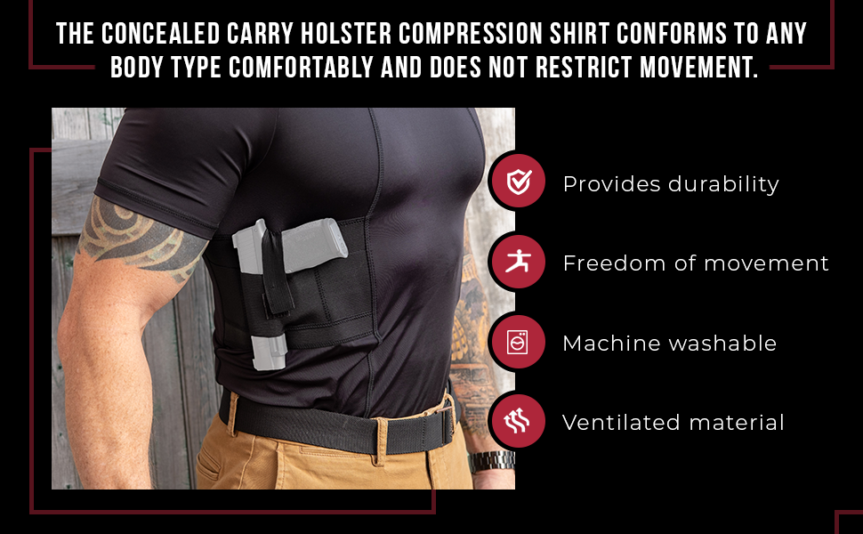 Holster Shirt Concealed Carry Clothing for Men Crew Neck