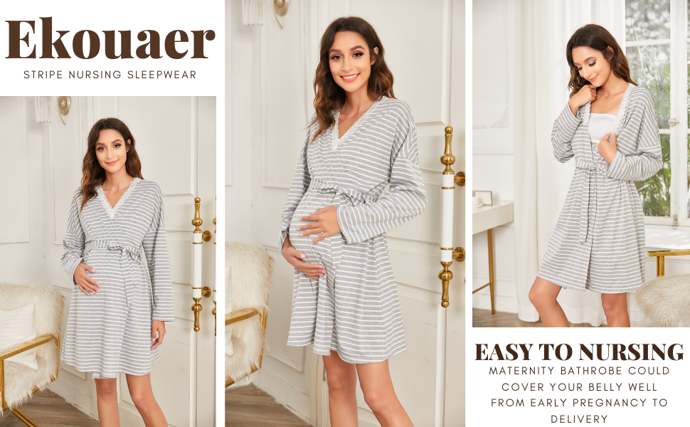Womens Maternity Pregnancy Robe Long Sleeve
