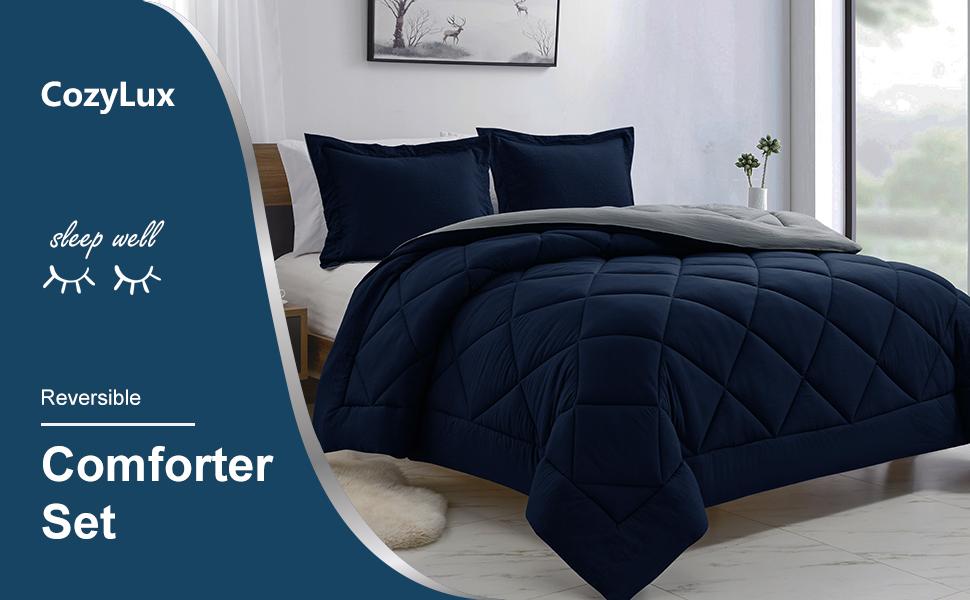 CozyLux Reversible Comforter Set Navy Blue/Light Grey Lightweight Fluffy Down Alternative