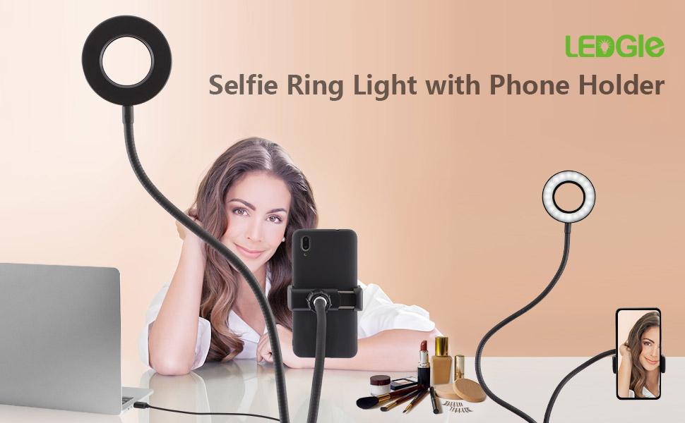 Portable Selfie Ring Light 360/°Long Arm Table Holder Circular Beauty Lamp LED Fill-in Light for Live Stream/& Makeup