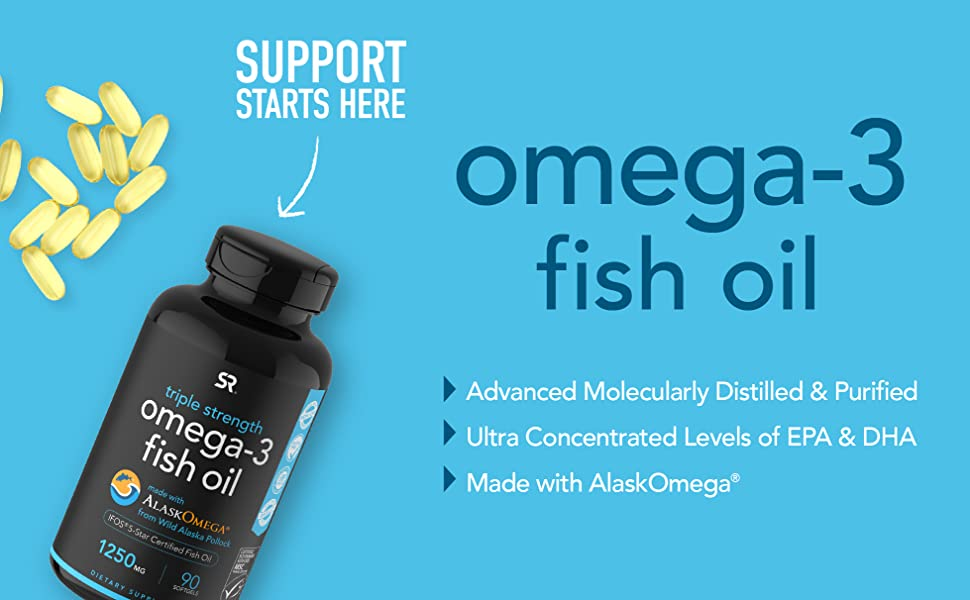 Sports Research Triple Strength Omega 3 Fish Oil supplememt 90 softgels