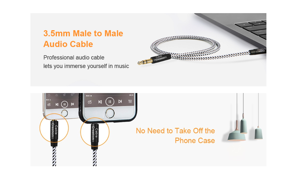 3.5mm male to male aux audio cable for car