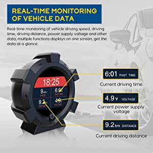 Head Up Display OBD2 GPS HUD Gauge with Speed Engine RPM Battery Voltage Fuel Consumption Coolant