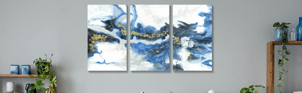 blue abstract canvas art