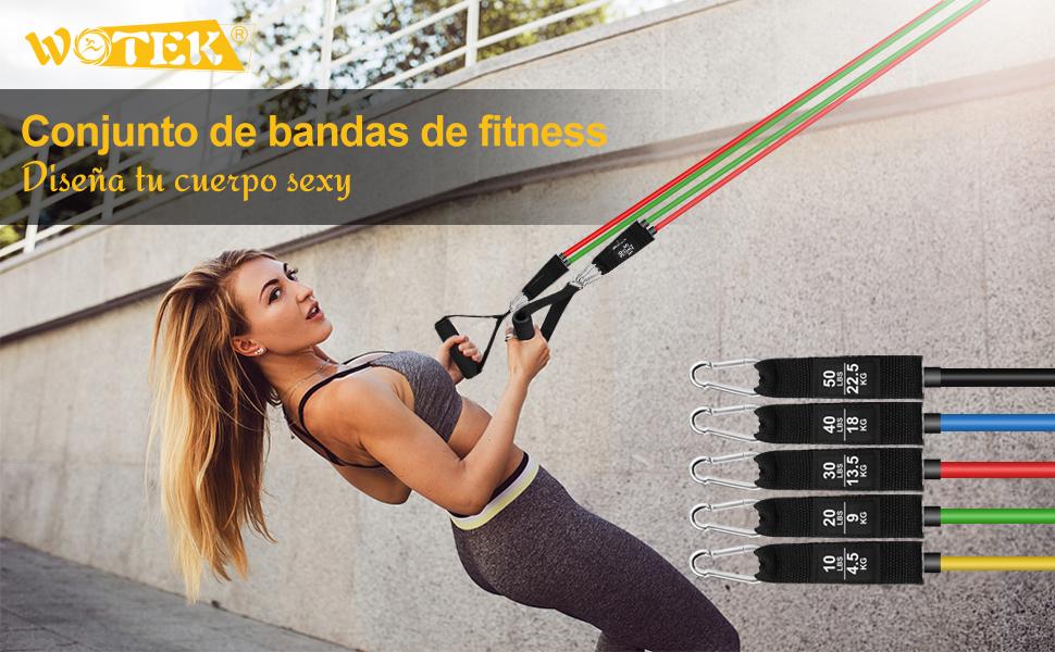 WOTEK Bandas Elasticas Musculacion,Set de Bandas de Resistencia con Cinco Tubo de Látex,Bandas de Resistencia Fitness para ...