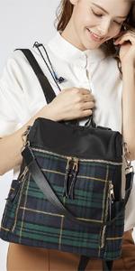 Backpack Nylon Green Plaid