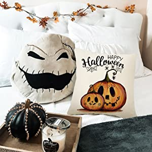 quote pumpkin boo farmhouse trick treat witch outdoor indoor black white holiday 45x45 happy cute