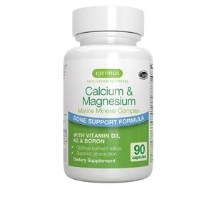 Calcio & Magnesio, Complejo Mineral Marino con Boro, Vitaminas D3 y K2, Vegano, 90 cápsulas
