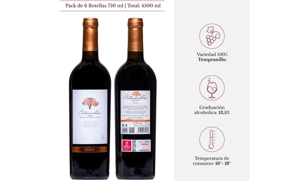 Vino tinto Crianza Rioja de la D.O.Ca. Rioja afrutado Sotonovillos pack regalo vino - 6 Botellas de 750 ml - Total: 4500 ml + Sacacorchos: Amazon.es: Alimentación y bebidas