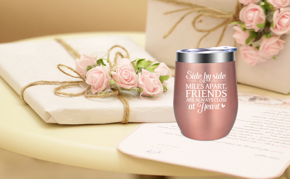 Side by Side or Miles Apart Friends are Always Close at Heart Best friend bff friendship gifts