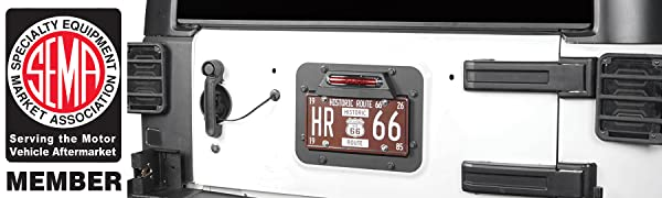 Jeep Wrangler JK 07-18 Spare Tire Delete License Plate Relocation Kit w/Plate Illuminate Light