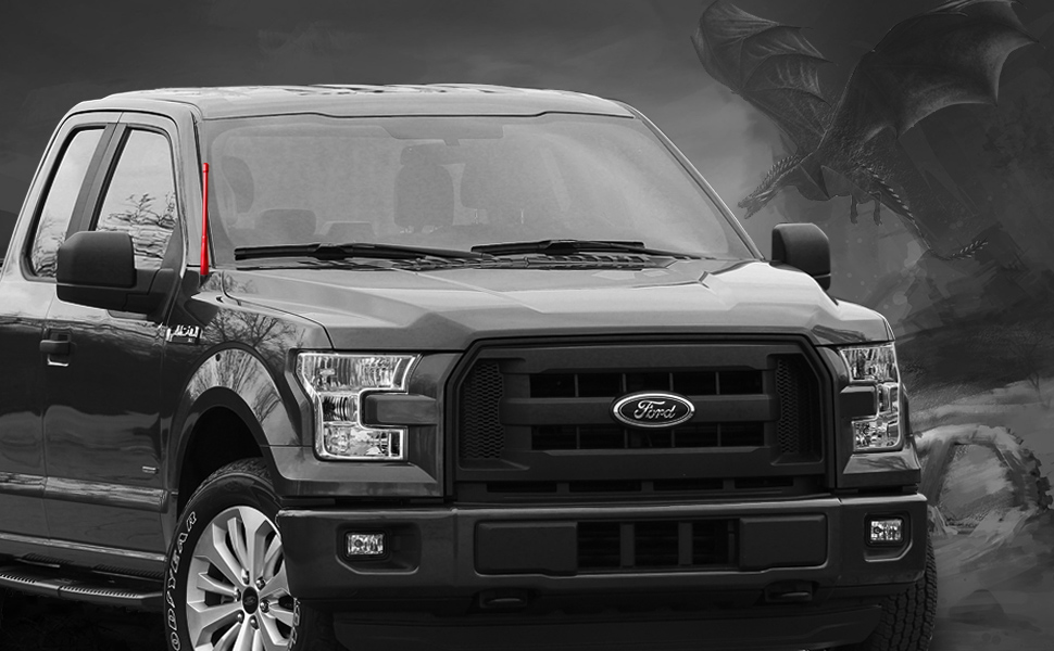 FM//AM Reception Enhanced Stealth Black Tough Material Creative Design DROGO 6.75 StandX Replacement Antenna for Ford F-250 2009-2018