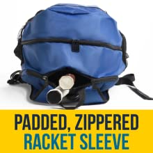 Padded, zippered racket compartment, holds 2 raquets, zippers don't slip and secure rackets