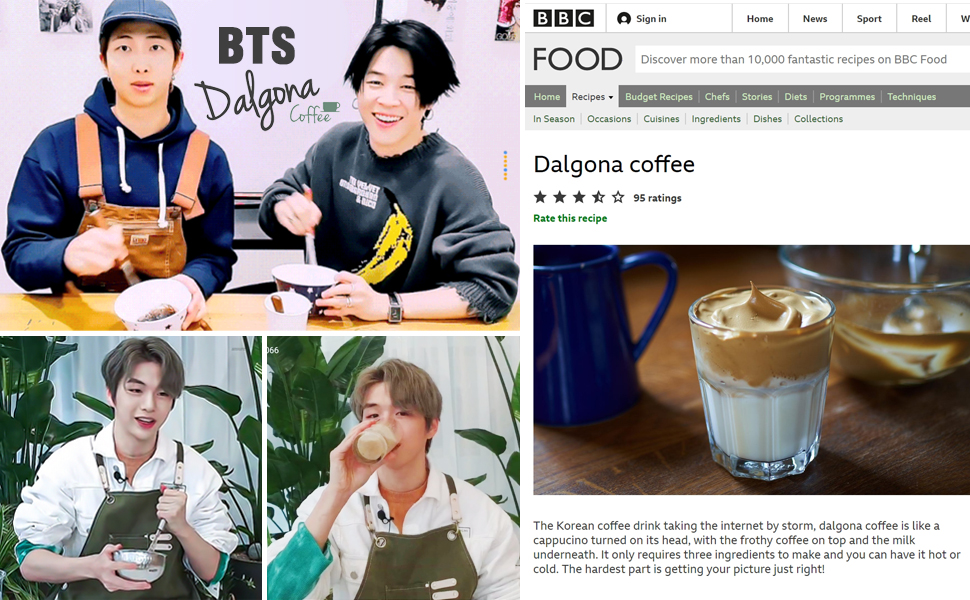BTS KANG DANIEL Korean dalgona coffee making youtube BBC FOOD internet