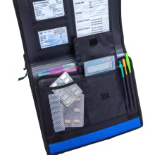 storage pouch for pill organizer, medications, calendar reminders