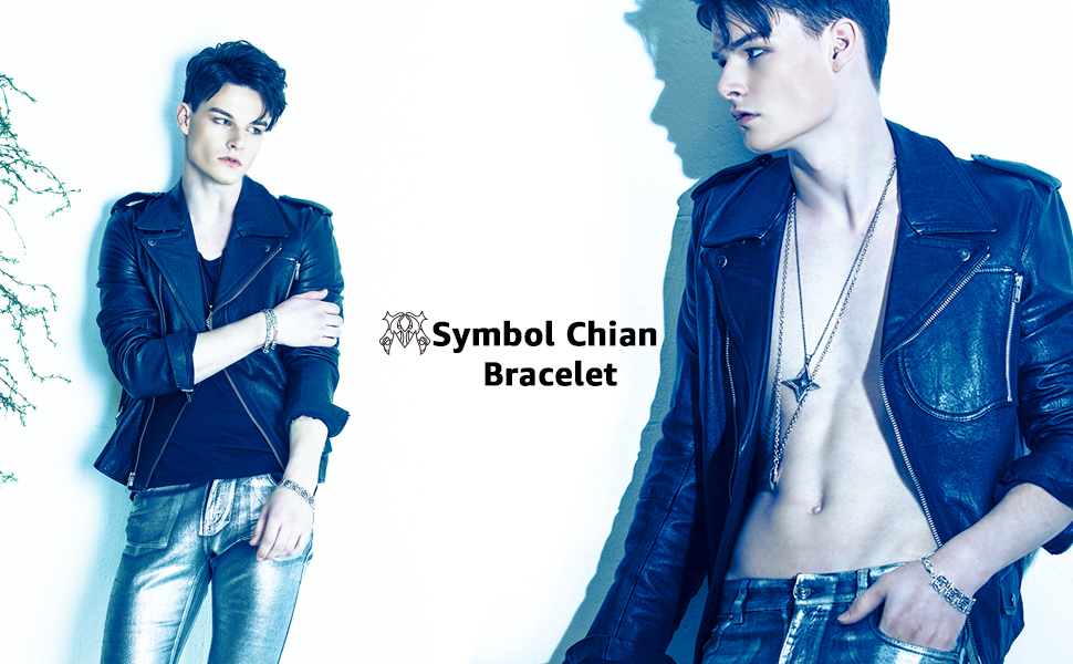 Art Nouveau Collection 925 Sterling Silver Jewelry M Symbol Chain Bracelet for Men Women Couple