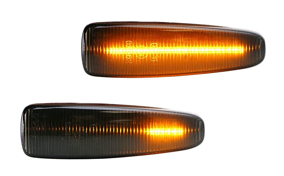 Smoked Sequential Amber LED Side Marker Light For Mitsubishi Lancer Evo X Mirage Outlander Sport