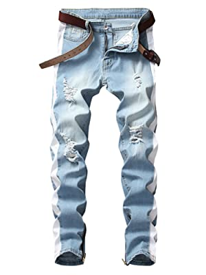 denim jeans men skinny stretch jeans men light blue distressed jean men skinny men stretch jean pant