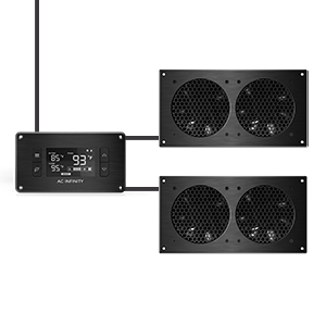 AC Infinity AIRPLATE T7 Quiet Cooling Dual-Fan System Thermostat Control Home Theater AV Cabinet