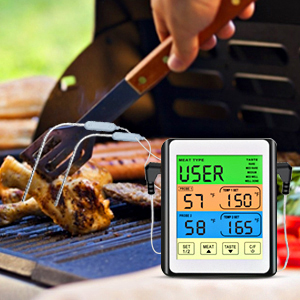 Wireless Remote Digital Cooking Food Meat Thermometer with Dual Probe Smoker Grill BBQ Thermometer