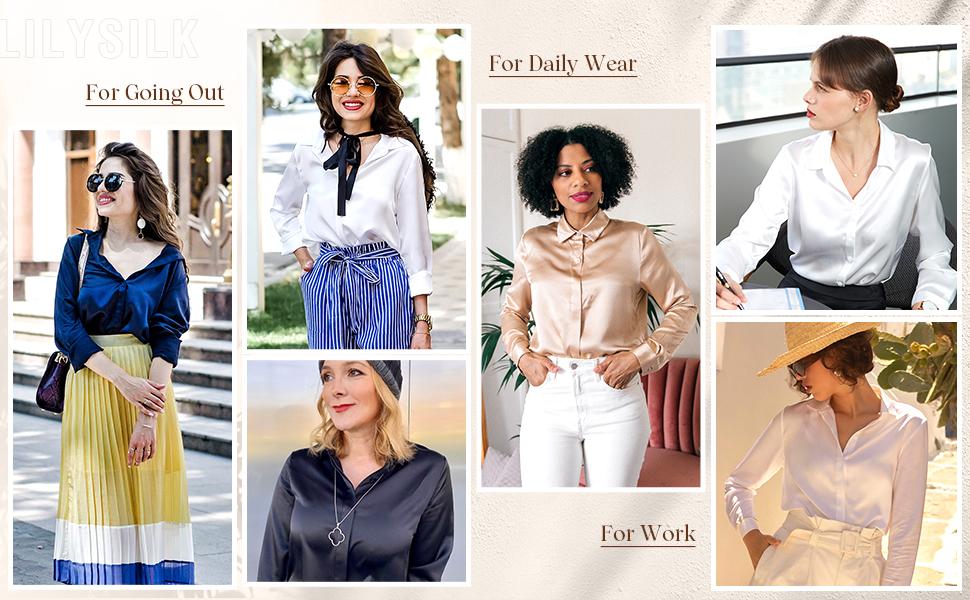 LilySilk Camisa Mujer de 100% Seda de 22Momme con Botones Estilo Clásico