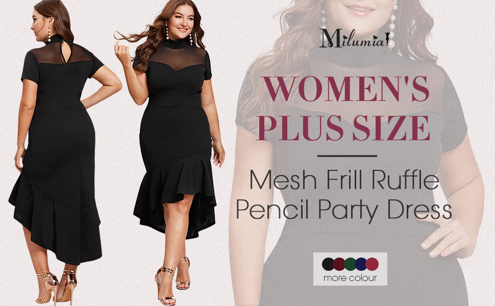 Milumia Women's Plus Size Mesh Frill Ruffle Round Neck Pencil Party Dress