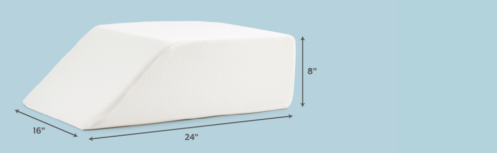 """Leg Elevating Wedge Pillow with info-graphic dimensions. 24"""" x 16"""" x 8"""""""