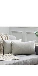 farmhouse linen burlap pillows grey gray with vintage buttons fall decor