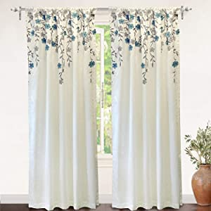 isabella 3d embroidered print floral pattern ivory blue 52 84