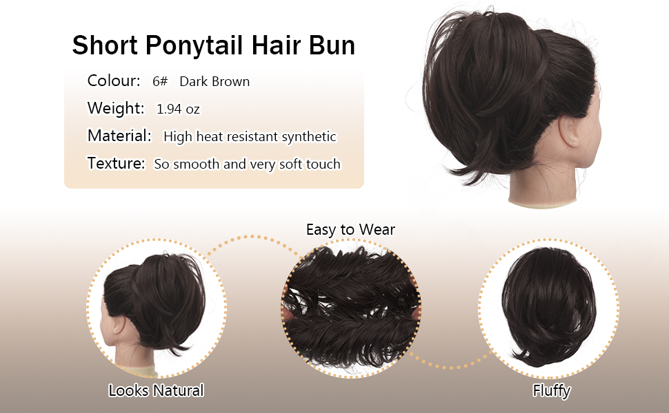 Straight Synthetic Hairpiece Fully Short Ponytail Bun Extensions Hair