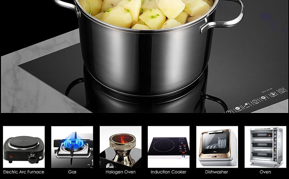 Deik Batería de cocina, Acero inoxidable, 9 piezas, 6L / 3L / 2L / 1.5L / 1L, Tapa de vidrio, Guantes de regalo