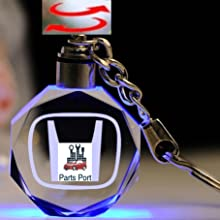 Parts Port Flashing Keychain with Car Logo for Acura Laser Engrave Crystal Body w//Colorful LED Light