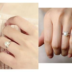 adjustable cat ears expendable rings pearls crystal gemstone sterling silver jewelry set girls teen