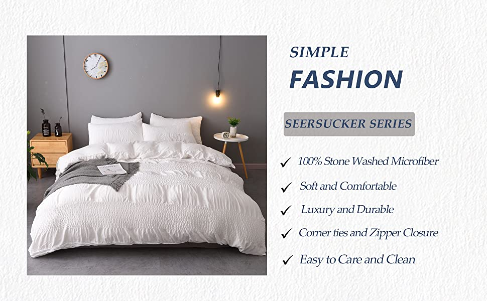 white duvet cover textured seersucker stripe queen king twin soft bedding