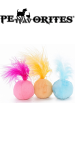 PETFAVORITES Furry Rattle Ball Cat Toy with Feather and Catnip