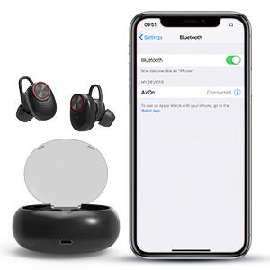 Caja de Carga Airon Auricular Bluetooth en la Oreja inal/ámbrico IPX5 Impermeable,2 Modos CVC8.0 cancelaci/ón de Ruido Auricular con micr/ófon HD Stereo UTRAI Auricular Bluetooth 5.0