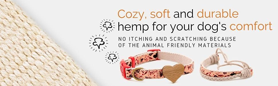 hemp dog collar soft durable comfort matching friendship puppy cozy comfort animal friendly cute
