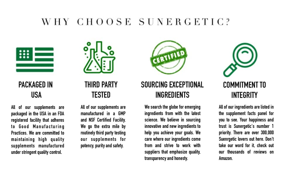Why Choose Sunergetic Premium Supplements? Made in USA , Exceptional Ingredients , Third Party Test