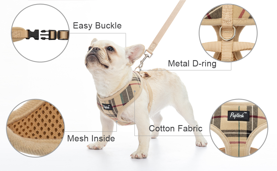 DOG PLAID HARNESS WITH LEASH