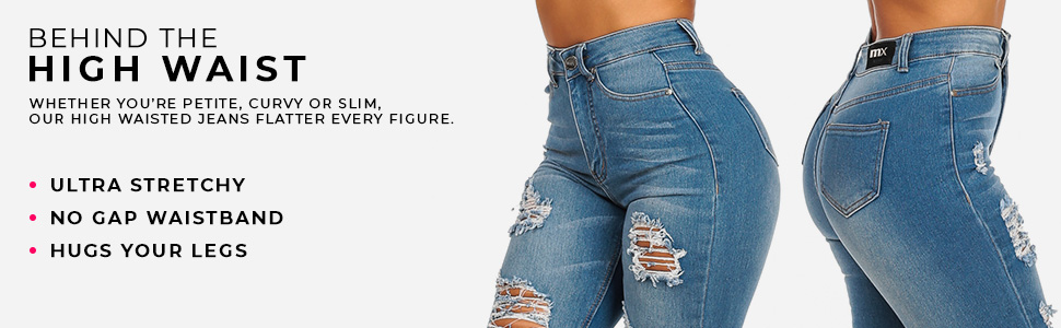 High waisted stretchy sexy jeans for women solid and ripped distressed styles
