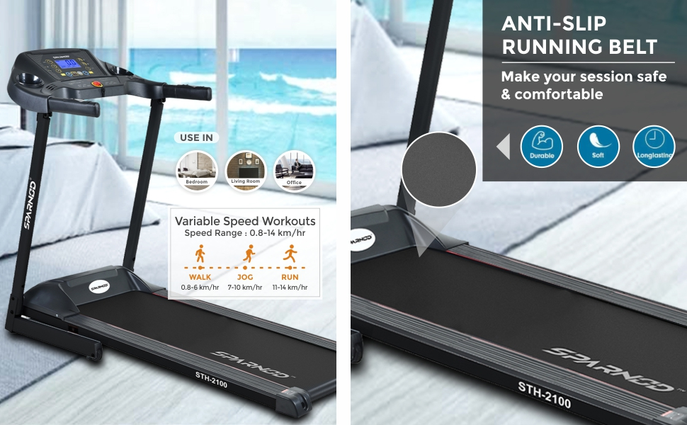 Sparnod Fitness STH-2100 Automatic Foldable Motorized Treadmill for Home Use pre-installed