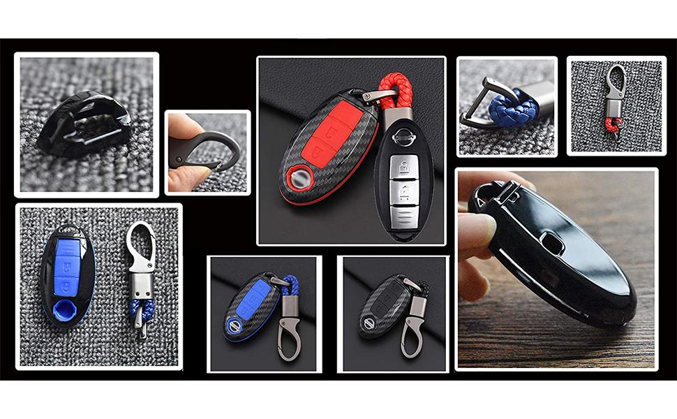 Ontto 4 Tasten Autoschlüssel Hülle Cover Für Nissan Altima Armada Maxima Murano Rogue Leaf 370 Z Versa Sentra Schutzhülle Schlüsselschutz Schlüsselanhänger Schutz Etui Fernbedienung Schwarz Auto