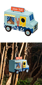 "9.45""L Wooden Lobster Truck Birdhouse"