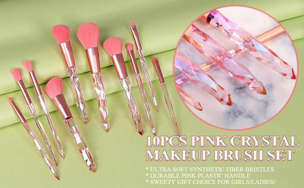 makeup brush crystal handle