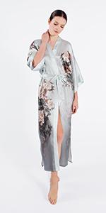 KIM+ONO Women's Kimono Robe Washable Silk Collection - Lotus Nightshadow