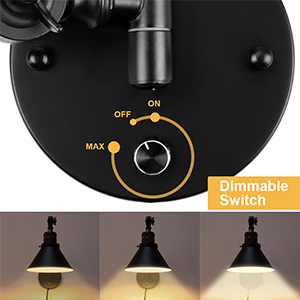 Dimmable switch of wall sconces