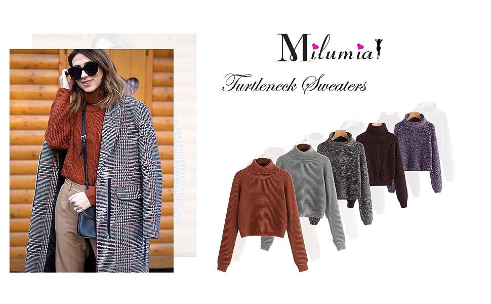 turtleneck long sleeves pullovers tops crop top sweater casual daily weekend office school